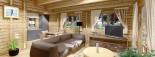 Chalet en bois habitable LINDA (44+44 mm, RT2012), 78 m² + 38 m² terrasse visualization 9