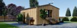 Bureau de jardin TINA (44 mm + bardage), 4x4 m, 12 m² + 3.5 m² auvent visualization 6