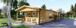 Chalet en bois TOSCANA (44+44 mm), 53 m² + 29 m² terrasse visualization 3