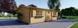 Chalet en bois HYMER (66 mm), 42 m² + 10 m² terrasse visualization 5