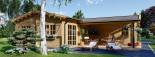 Chalet en bois BERTA (66 mm), 72 m² avec terrasse + 20 m² garage visualization 9