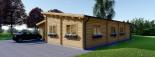 Chalet en bois à toit plat BERTA (44+44 mm), 72 m² avec terrasse + 20 m² garage visualization 4