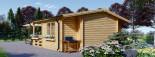 Chalet en bois PARIS (44 mm), 21 m² + 11 m² terrasse visualization 5