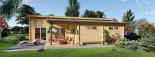 Chalet en bois à toit plat BERTA (44+44 mm), 72 m² avec terrasse + 20 m² garage visualization 9