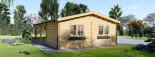 Garage en bois (44 mm), 4x6 m + carport double 5.5x6 m, 57 m² visualization 8