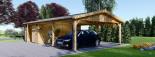 Garage en bois (44 mm), 4x6 m + carport double 5.5x6 m, 57 m² visualization 5