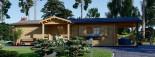 Chalet en bois DONNA PLUS (44 mm), 63 m² + 11.5 m² terrasse visualization 3