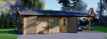 Garage en bois double (44 mm), 6x6 m + carport simple, 3x6 m, 54 m² visualization 3