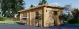 Garage en bois à toit plat MODERN (44 mm), 3.6x5.4 m, 19.9 m² visualization 1