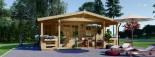 Chalet en bois PARIS (44 mm), 21 m² + 11 m² terrasse visualization 2