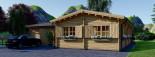 Chalet en bois BERTA (66 mm), 72 m² avec terrasse + 20 m² garage visualization 6