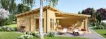 Chalet en bois à toit plat BERTA (44+44 mm), 72 m² avec terrasse + 20 m² garage visualization 6