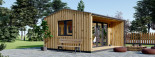 Bureau de jardin TINA (44 mm + bardage, RT2012), 4x4 m, 12 m² + 3.5 m² auvent visualization 7
