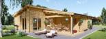 Chalet en bois à toit plat BERTA (44+44 mm), 72 m² avec terrasse + 20 m² garage visualization 7