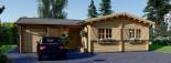 Chalet en bois BERTA (66 mm), 72 m² avec terrasse + 20 m² garage visualization 5