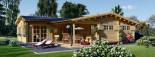 Chalet en bois BERTA (66 mm), 72 m² avec terrasse + 20 m² garage visualization 2
