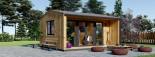 Bureau de jardin TINA (44 mm + bardage, RT2012), 4x4 m, 12 m² + 3.5 m² auvent visualization 1