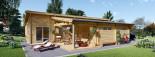 Chalet en bois à toit plat BERTA (44+44 mm), 72 m² avec terrasse + 20 m² garage visualization 8