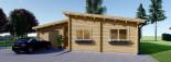 Chalet en bois à toit plat BERTA (44+44 mm), 72 m² avec terrasse + 20 m² garage visualization 3