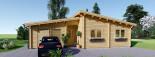 Chalet en bois à toit plat BERTA (44+44 mm), 72 m² avec terrasse + 20 m² garage visualization 2