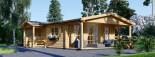 Chalet en bois DONNA PLUS (44 mm), 63 m² + 11.5 m² terrasse visualization 1