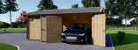 Garage en bois double ALTERNATIVE (44 mm), 6x6 m, 36 m² visualization 3