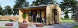 Bureau de jardin TINA (44 mm + bardage, RT2012), 4x4 m, 12 m² + 3.5 m² auvent visualization 4