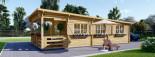 Chalet en bois à toit plat HYMER (66 mm), 42 m² + 10 m² terrasse visualization 3