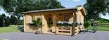 Chalet en bois NANTES (44+44 mm, RT2012), 24 m² + 3.5 m² terrasse visualization 2