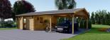 Garage en bois (44 mm), 4x6 m + carport double 5.5x6 m, 57 m² visualization 4