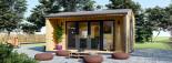 Bureau de jardin TINA (44 mm + bardage), 4x4 m, 12 m² + 3.5 m² auvent visualization 3