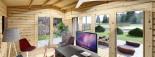 Bureau de jardin TINA (44 mm + bardage), 5x4 m, 15 m² + 4.5 m² auvent visualization 8